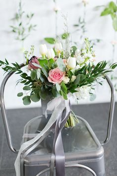 Full wedding bouquet with ribbons