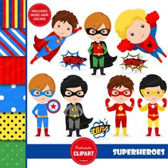Superhero Costumes For Boys, Superhero Kids, Superhero Characters, Superhero Party, Superhero Teacher, Superman Clipart, Superhero Clipart, Superhero Wall Art, Clipart Chica