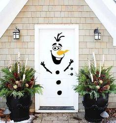 Items similar to Olaf Holiday Door Decal - Disney Frozen Door Decal - Olaf the Snowman - Christmas Door Decal on Etsy - Oscar Wallin Frozen Christmas, Christmas Snowman, Simple Christmas, Handmade Christmas, Christmas Holidays, Christmas Crafts, Snowman Door, Olaf Snowman, Snowman Cartoon