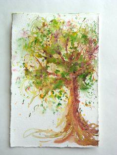 Watercolour Autumn Tree  Fresh unique ORIGINAL by CheyAnneSexton, 20.