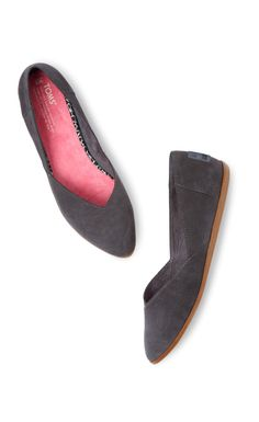 The beloved TOMS Jutti flat, muted down for fall in grey. http://wintomsshoe.tumblr.com/