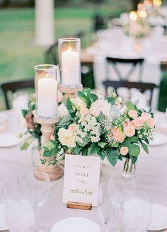 Fresh & chic garden wedding centerpiece. Take a look at this rustic cream & blush Arizona wedding captured by Rachel Solomon Photography.
