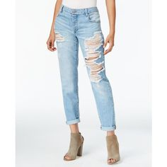 Rachel Rachel Roy Ripped Boyfriend Nirvana Wash Jeans (560 EGP) ❤ liked on Polyvore featuring jeans, nirvana, boyfriend fit jeans, white destroyed boyfriend jeans, white distressed jeans, destructed jeans and boyfriend jeans