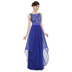 $69.99 Blue Ever-Pretty Elegant Sleeveless Round Neck Evening Party Dress 08217