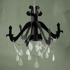 A chandelier made out of cardboard, awesome and much cheaper than a real one.