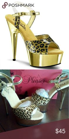 "Gold Cheetah Platform 6"" Heel. This cute shoe has a 6"" heel and 1 3/4 platform. Size 9M retails for $85. Pleaser USA Shoes Platforms"
