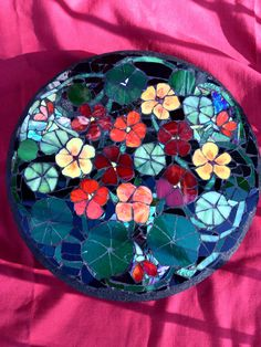 Nasturtiums Glass On Lazy Susan Mosaic Stepping Stone Mosaic Art Stained Glass Tile
