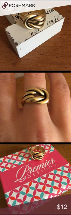 Premier Designs Love Knot ring size 7 Matte gold finish. Size 7. Bought on poshmark by a little too snug for the finger I wanted to wear it on so reselling. EUC. Have box. Premier Designs Jewelry Rings