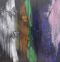 """Fluttering Butterflies By Helen Leigh  Abstract Expressionist-Drip Painting (style)  Materials:  Acrylic and Metallic Paint on Canvas  LARGE 90cm x 60cm x 3.5cm (24"""" x 36"""") - Exhibition Grade Canvas."""
