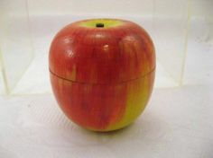 Vintage Wood Hollow Two Piece Apple Trinket Box Made in Japan | eBay