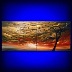 large abstract painting cloud bird tree wind stars sunset landscape 56 x 22