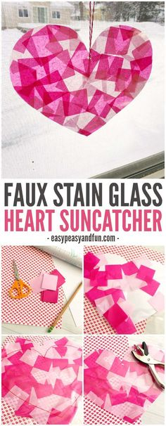 Stain Glass Heart Suncatcher Make these faux stain glass heart suncatchers this February! A great craft to work on scissor skills!Make these faux stain glass heart suncatchers this February! A great craft to work on scissor skills! Diy Craft Projects, Valentine's Day Crafts For Kids, Valentine Crafts For Kids, Valentines Day Activities, Craft Ideas, Funny Valentine, Kinder Valentines, Valentines Diy, Wine Bottle Crafts
