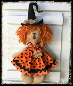 * Primitive RAGGEDY ANN doll ANnie ~ HALLOWEEN ~ witch WITCHY POO tag polka dots #NaivePrimitive