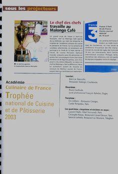 Consultant restauration - Trophée national de cuisine et patisserie 2003 - Jean-Luc Buscaylet