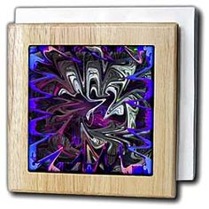 Purple, Pink, Blue, Gray and Green Wispy Liquefied layers that are Beveled and Swirled Tile Napkin Holder