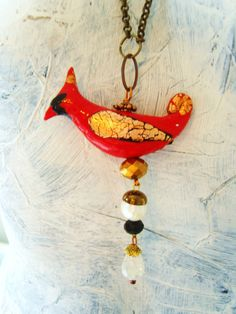 ART SCULPTURE Red  cardinal bird pendant by TheEnglishEclectic, $150.00