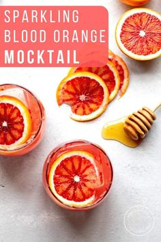 This sparkling blood orange mocktail with honey and vanilla is a refreshing winter spritzer. It's an easy mocktail - the perfect drink for Dry January or a pretty non-alcoholic drink for girls night. Drinks Alcohol Recipes, Non Alcoholic Drinks, Fruit Recipes, Vegan Recipes Easy, Fun Drinks, Yummy Drinks, Cocktail Recipes, Beverages, Low Calorie Cocktails