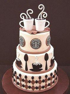 Coffee themed wedding cake