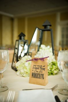 Ashley & Chip's Centerpieces and Favors  Photo by Hanlon Photography  www.hanlonphotography.com