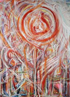 """""""Helios"""" Large Abstract Expressionist Oil 