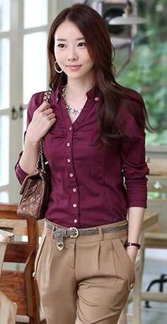 Korean Style Women Long Sleeve Collar Pure Color Wine Red Blends Tops One Size @FZ9741wr