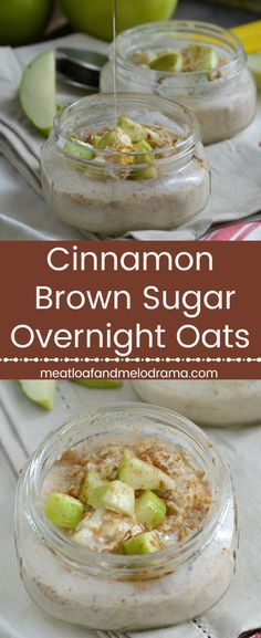 Cinnamon Brown Sugar Overnight Oats - An easy grab and go breakfast of refrigerator oatmeal flavored with cinnamon, brown sugar, honey and diced apples. Perfect for back to school and busy mornings! from Meatloaf and Melodrama quick diet overnight oats Oats Recipes, Cooking Recipes, Freezer Recipes, Brunch Recipes, Breakfast Recipes, Breakfast Smoothies, Breakfast Ideas, Breakfast Sandwiches, Oatmeal Flavors