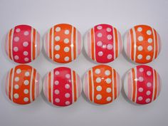 Set of 8 Hand Painted Pink & Orange Polka by DaisyBlueCatDesigns, $22.00