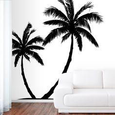 Wall Decal Vinyl Sticker Decals Art Decor Design Couple Palm Branch Beach Tree Hawaii Sun Summer Surf Dorm Bedroom Mural Modern Dorm (r647)