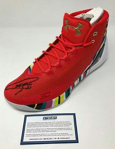 961848f26f5d9f STEPHEN CURRY Autographed Warriors Curry 3 Under Armor Red Shoe STEINER