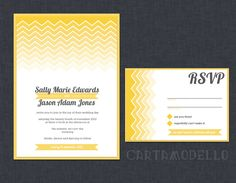 Printable Chevron Stripe Ombre Wedding Invitation and RSVP card (yellow and grey). $35.00, via Etsy.