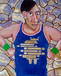 #fragmentedday ©GN 2017; 20 x 16 in; acrylic, pencils, ink & oil on canvas.  #PabloPicasso #PicassoSelfPortrait1907 #art #Android #fragmented #athletic #GabrielNavar #contemporaryart #cubism #painting #pintura  #impasto #texture #textura  #kunstler #malerei http://gabrielnavar.com