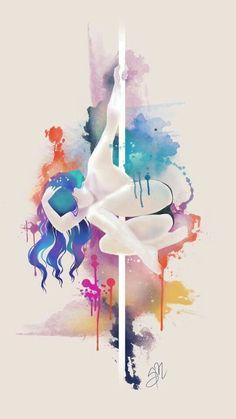 Resultado de imagem para aquarela pole dance