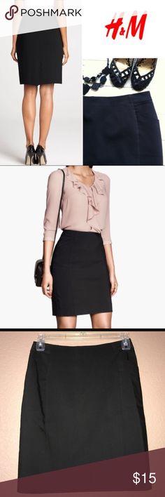 H&M black pencil skirt H&M pencil skirt/ fully lined/ front pockets/ back zipper& back slit/ NWOT H&M Skirts Pencil