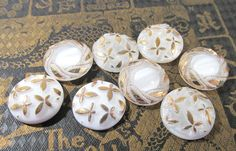 White Moonglow Glass Shankless Buttons West Germany VINTAGE White Luster Buttons Eight (8) Vintage Buttons Jewelry Sewing Supplies (J85) by punksrus on Etsy