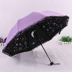 Korean Stylish Black Lace Parasol Creative Folding Umbrella Anti uv Vinyl Women's Sun Rain Umbrellas-in Umbrellas from Home & Garden on Aliexpress.com | Alibaba Group