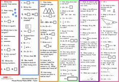 Mixed Mental Maths Worksheets for early morning work. Aimed at Primary Key Stages 1 and Differentiated six ways. Mental Maths Worksheets, Ks2 Maths, Gcse Math, Printable Math Worksheets, Math Tutor, Teaching Math, Math Activities, Key Stage 1 Maths, Mastery Maths
