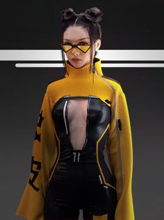 Cyberpunk Girl, Cyberpunk Character, Cyberpunk Fashion, Clubbing Outfits, Rave Outfits, High Fashion Dresses, Future Clothes, Fashion Project, Future Fashion