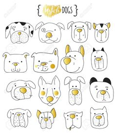 Set of 16 cute dogs doodle . Set of 16 cute dogs doodle . Dogs Print for T-shirts. Print for clothes . Sketch Note, Dog Muzzle, Doodle Tattoo, Animal Doodles, Doodle Dog, Dog Vector, Dog Illustration, Cartoon Illustrations, Doodle Sketch