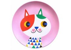 Assiette rose chat arlequin 7,50 € http://www.laboutiquedelouise.com