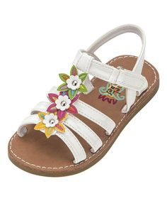Vibrant flower accents delight tiny eyes, while this sandal's adjustable strap ensures custom comfort. Kid Shoes, Girls Shoes, Baby Shoes, Tiny Eye, White Flowers, Topaz, Prada, Shoes Sandals, Booty
