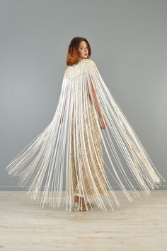 1960s Metallic Brocade Jumpsuit with Fringed Cape