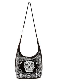 Sugar Skull Bandana Hobo Bag | Hot Topic