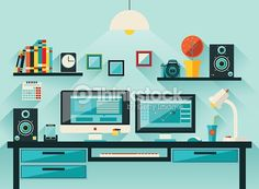 Vector Art : Flat office workspace, workplace
