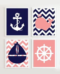 INSTANT DOWNLOAD  Chevron Nautical Nursery Navy by PrincessSnap, $16.00