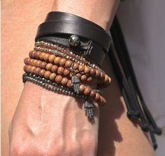 Sheryl Lowe | Exclusive Black Leather Triple Wrap Bracelet with Pyrite Bead | goop.com