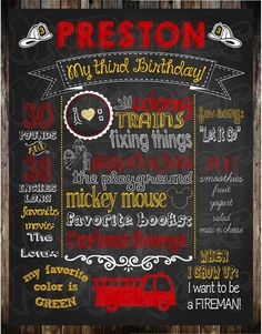 Display everything about your little one at their party with a customized chalkboard! This listing is for a high resolution 16 x 20 JPEG personalized