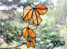 Stained Glass Leaves Suncatcher Orange and Yellow Maple Tree Branch, Maple Leaf Suncatcher, Fall Leaves, Glass Art, Autumn Decor by BerlinGlass on Etsy