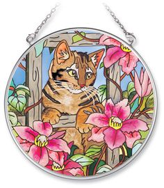 "Tabby CAT Sun Catcher AMIA Tiger Stripes Hand Painted Glass 4 1/2"" Round Fence  #AMIA"
