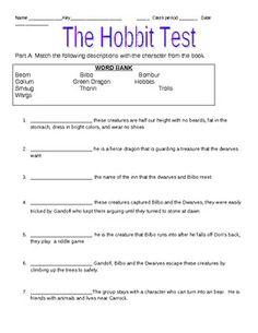 Hobbit Worksheets Chapter 1-10 Answer Key - Pinterest