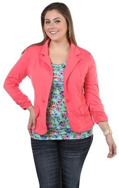 plus size three quarter sleeve blazer